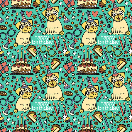 dog: Happy Birthday. Puppy pug. Pattern (background). Illustration