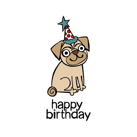 dog: Happy Birthday. Puppy pug.
