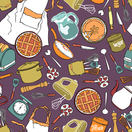 house ware: Kitchen accessories Seamless vector pattern