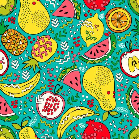 Bright summer fruit: watermelon, kiwi, apple, pear, orange, lemon, pomegranate, pineapple, banana. Seamless vector pattern (background). Fruit print. Illustration