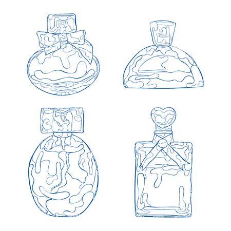 Perfume products. Perfumes and toilet waters. Isolated vector objects on white background. Illustration