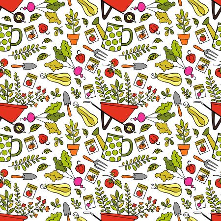 pumpkin seeds: Garden wheelbarrow, plants, watering, vegetables and leaves. Seamless vector pattern (background). Illustration