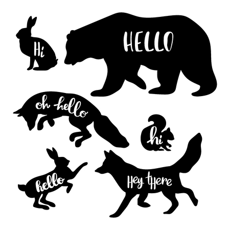 Forest animals: bear, wolf, fox, rabbit, squirrel. Hello. Isolated vector objects on white background. Çizim