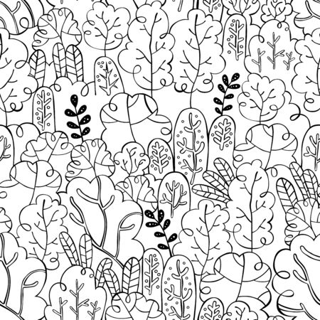Abstract doodle forest. Seamless vector pattern (background).