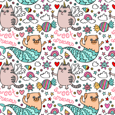 Sweet Dreams. Unicorn cat. Pug-mermaid. Sweets and a rainbow. Seamless vector pattern (background). Stock Illustratie