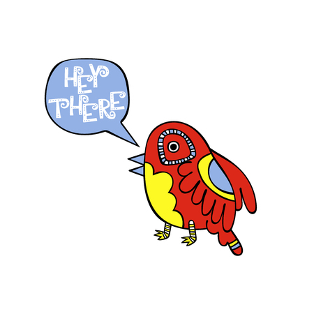 Hey there. Birdie. Isolated vector object on white background. Çizim