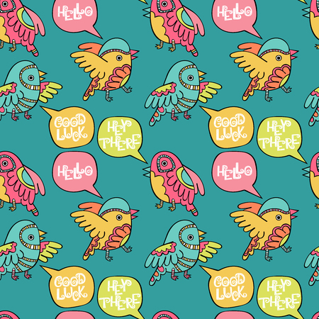 Hello. Hey there. Good luck. Birds. Seamless vector pattern (background).