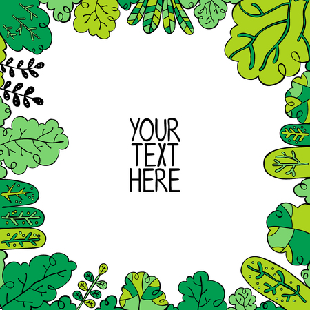 Your text here. Square frame - forest. Isolated vector objects on white background. Иллюстрация