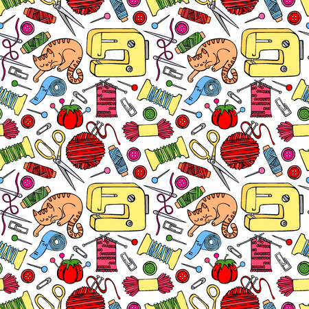 Seamless background with sketch tailoring equipment. Sewing, sewing machine, thread, needle, button. Cozy cat. Hand-drawn illustration. Ilustração