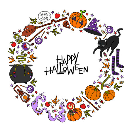 candle: Happy Halloween banner.