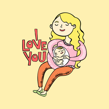 child sitting: I love you. Pregnant girl. Future mom and her baby.