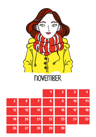 November Calendar Month. Beautiful girl. Isolated vector objects on white background. Çizim