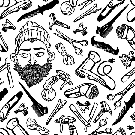 Bearded man. Hairdressing supplies. Scissors, razor, comb. Seamless vector pattern (background).