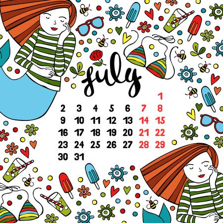 July calendar month design. Illustration