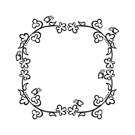 Frame. Flowers and butterflies. Black and white drawing. Isolated vector object.