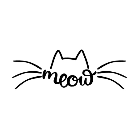 Meow. Cats ears and mustaches. Isolated vector object on white background.