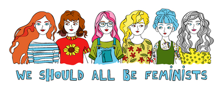 We should all be feminists lettering with cartoon women on white background. Vector illustration.