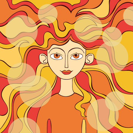 Red-haired girl. Waves.