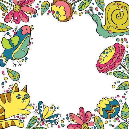 Cat, snail, bird. Flowers and leaves. Square frame.
