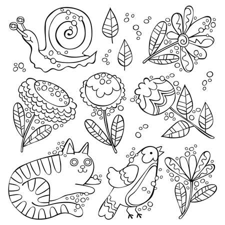 Cat, bird, snail. Flowers and leaves. Set. Isolated vector objects on white background. Ilustração
