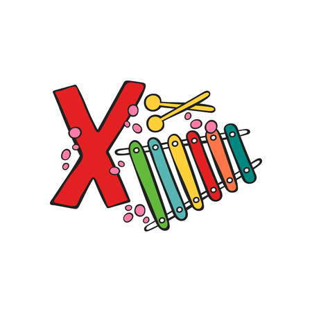 English letter X. Xylophone. Bat. Isolated vector object on white background.
