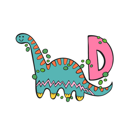 English letter D. Dinosaur. Isolated vector object on white background. Stock Illustratie