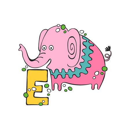 English letter E. Elephant. Isolated vector object on white background.