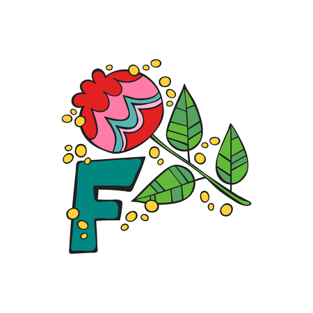 English letter F. Flower. Isolated vector object on white background.