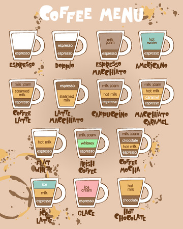 Coffee menu. Coffee cups. Lettering Set. Isolated vector objects. Illustration
