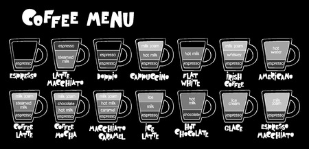 Coffee menu. Coffee cups. Lettering Set. Isolated vector objects. Ilustração