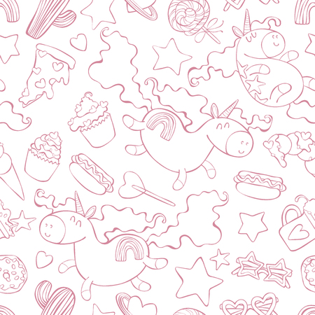 Unicorns and sweets. Cartoon print. Seamless vector pattern (background).