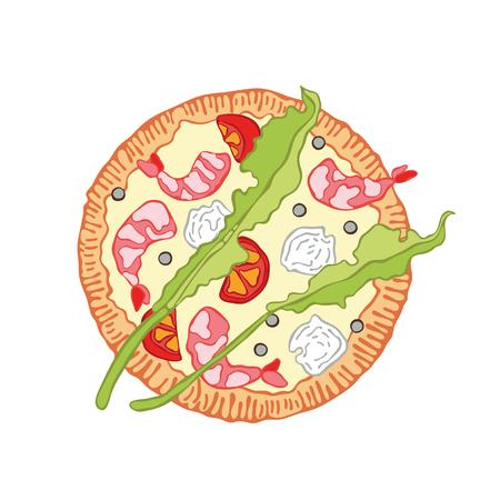 Caricature de nourriture de pizza. Objet vectoriel isolé sur fond blanc.