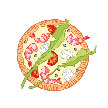 Dibujos animados de comida de pizza. Objeto vectorial aislado sobre fondo blanco.
