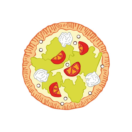 Pizza Food cartoon. Isolated vector object on white background. Vectores