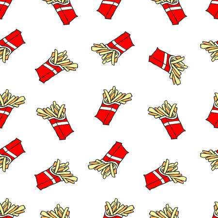 Franse frietjes. Cartoonafdruk. Naadloos vectorpatroon (achtergrond). Vector Illustratie