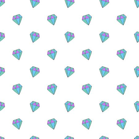 Crystals, Diamonds. Seamless vector pattern (background). Cartoon print.