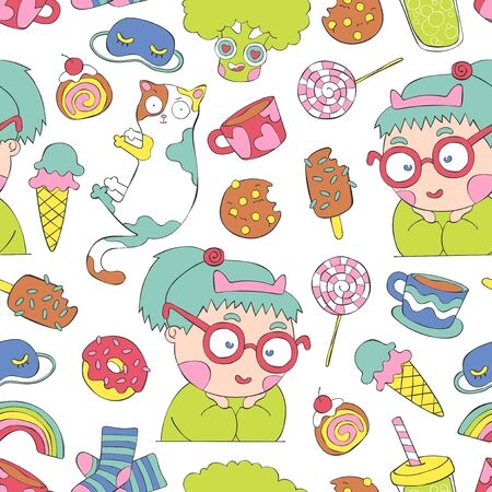 Cute little things. Girl, cat, coffee mugs, sweets, broccoli. Seamless vector pattern (background, print).  イラスト・ベクター素材