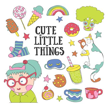 Cute little things. Girl, cat, coffee mugs, sweets, broccoli. Set. Isolated vector objects on white background.