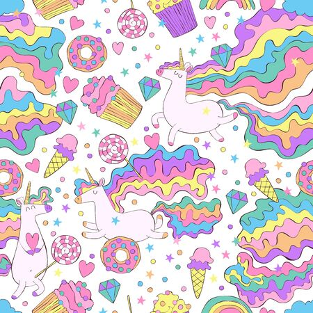 Unicorn and sweets. Donut, cupcakes, candy. Rainbow, stars, hearts. Seamless vector pattern (background). Cartoon print.