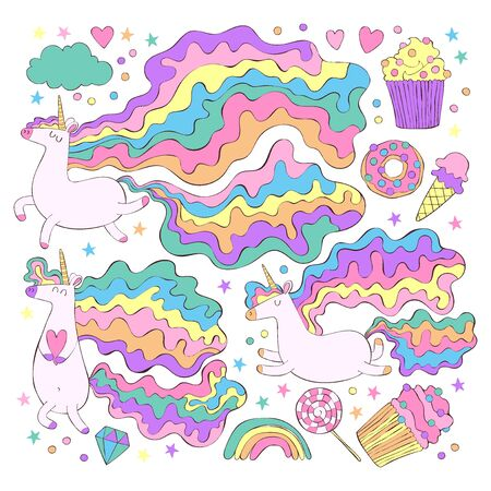 Unicorn and sweets. Donut, cupcakes, candy. Rainbow, stars, hearts. Set. Isolated vector objects on white background.  イラスト・ベクター素材