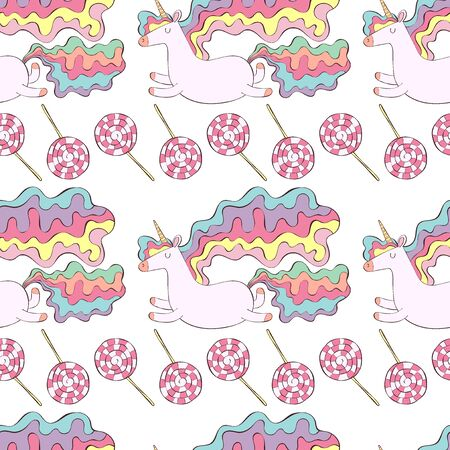 Unicorns and candy lollipops. Seamless vector pattern (background). Cartoon print.