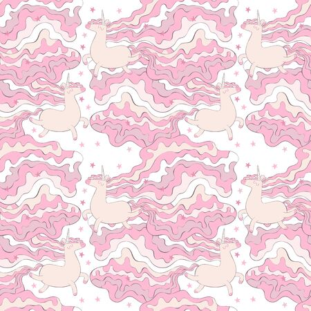 Unicorns. Colored mane. Stars. Seamless vector pattern (background). Cartoon print.  イラスト・ベクター素材