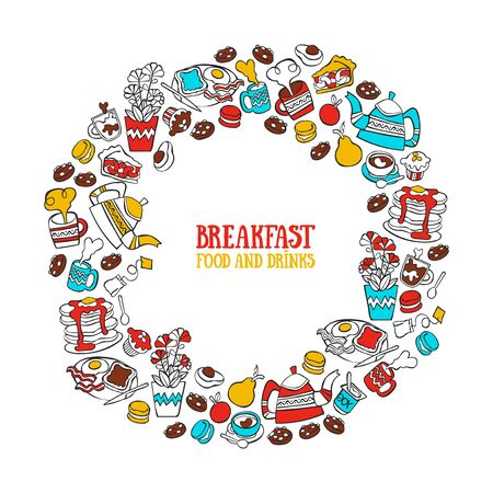 Breakfast. Food and drink. Coffee and tea. Bakery products. Fruits. Round frame. Lettering Isolated vector objects.  イラスト・ベクター素材
