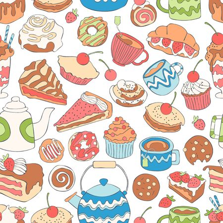 Baking and hot drinks. Coffee and tea. Sweets and desserts. Seamless vector background (pattern, print).