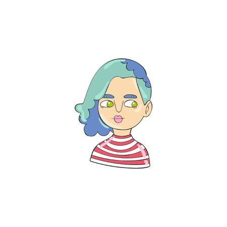Beautiful girl. Young woman. Cartoon man. Character. Isolated vector object on white background.  イラスト・ベクター素材