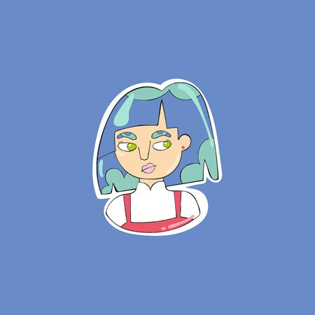 Young woman. Beautiful girl. Cartoon people. Isolated vector object. Color drawing.  イラスト・ベクター素材
