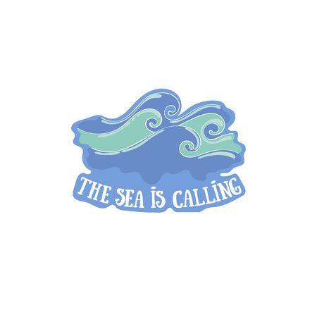 The sea is calling. Waves. Sea. Lettering Isolated vector object on white background.  イラスト・ベクター素材