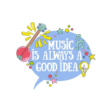Music is always a good idea. Lettering Guitar and sheet music. Light bulb. Isolated vector object on white background.  イラスト・ベクター素材