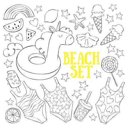 Hand drawn beach doodle set. Lettering Isolated vector objects on white background.