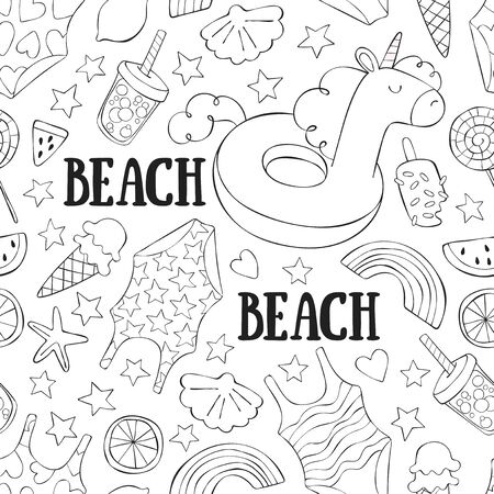 Hand drawn beach doodle set. Lettering Seamless vector background (pattern, print).